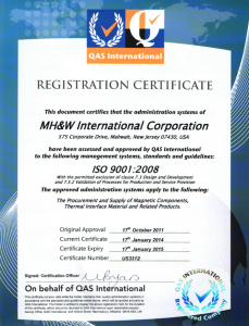 MH&W ISO Certificate